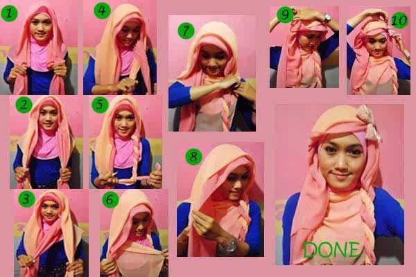 Cara Memakai Hijab Pashmina Tow Tone Agar Terlihat Feminim