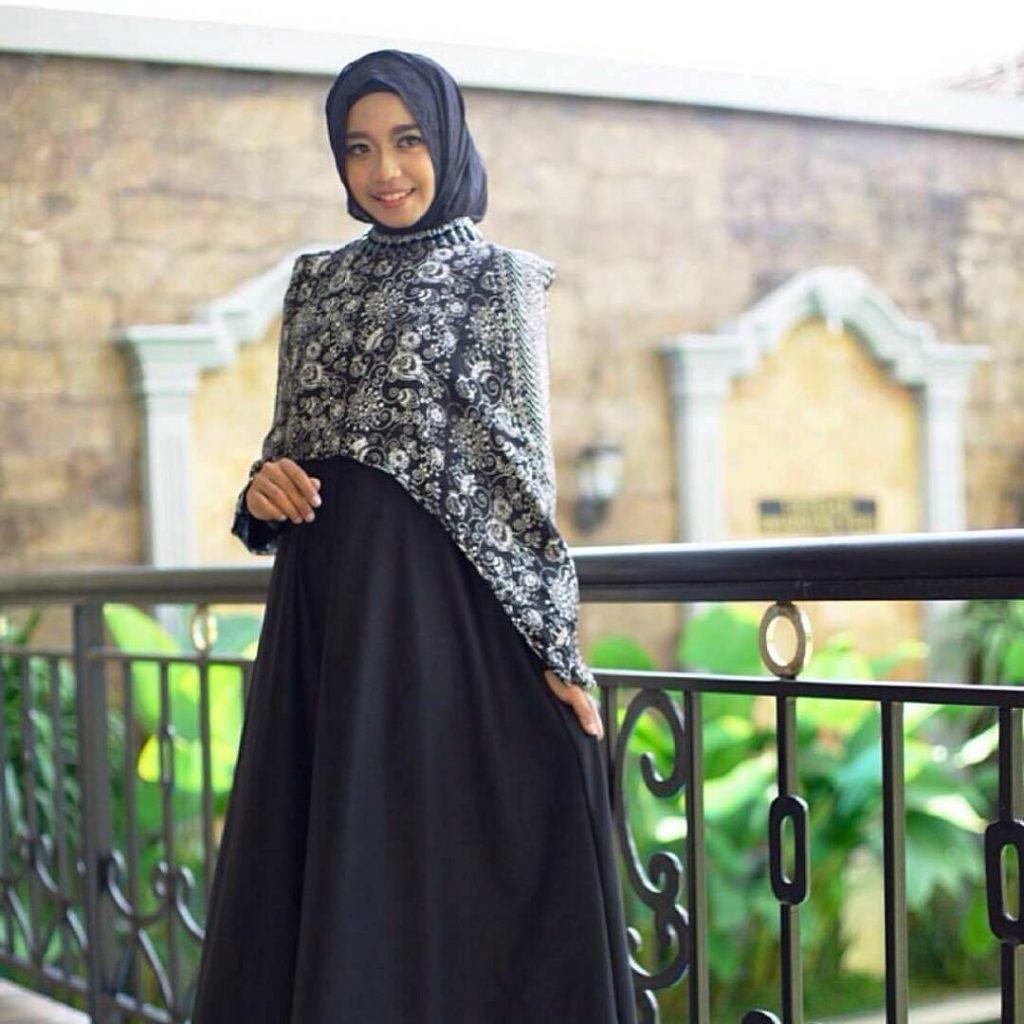 Model gamis batik blazer kombinasi sifon